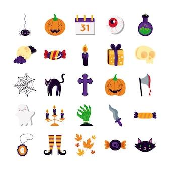 Bündel von fünfundzwanzig halloween-satzsammlungsikonen-vektorillustrationsentwurf