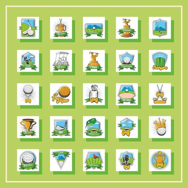 Bündel von golf-emblemen, schildern, etiketten und abzeichen auf grünem illustrationsdesign