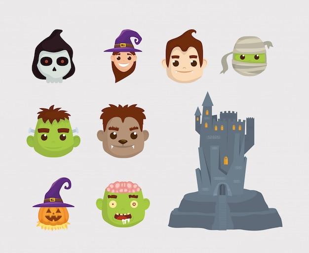 Bündel von halloween-charakteren und schlosssymbolen