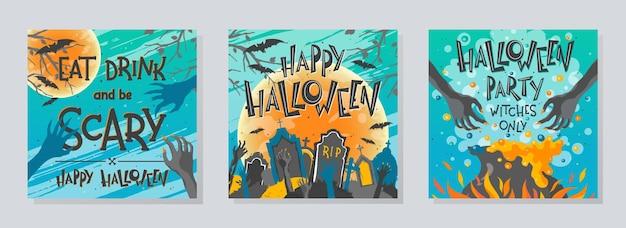 Bündel von halloween-postern mit zombie-händen, friedhof, mond, hexenkessel und fledermäusen. halloween-design perfekt für drucke, flyer, bannereinladungen, grüße. vektor-halloween-illustrationen.