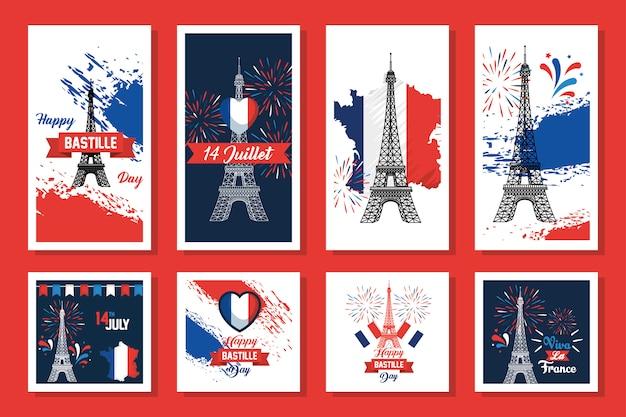 Bündel von happy bastille day und symbole