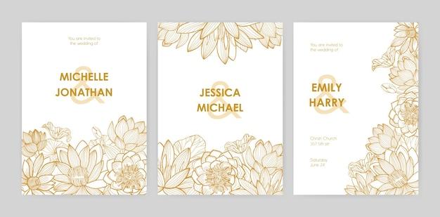 Bündel von hochzeitseinladungskartenschablonen verziert mit schönen blühenden lotusblumen