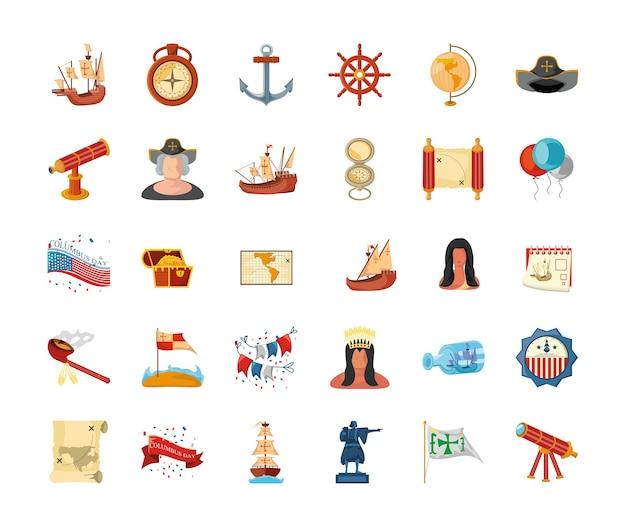 Bündel von ikonen columbus-tag auf weißem hintergrunddesign