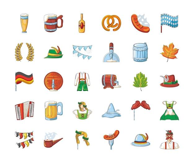 Bündel von ikonen der oktoberfestfeier auf weißem hintergrunddesign