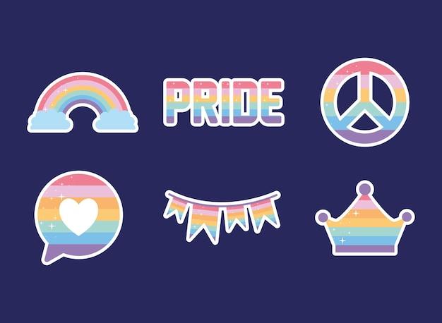 Bündel von ikonen mit lgbtq stolzfarben auf einem lila hintergrund