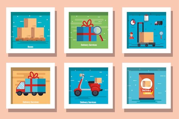 Bündel von lieferservice-designs mit symbolen