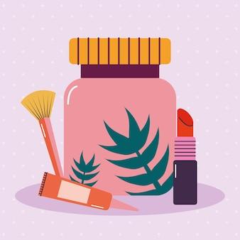 Bündel von make-up-symbolen auf einem lila hintergrund