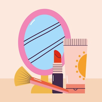 Bündel von make-up-symbolen auf einem rosa hintergrund