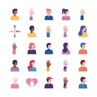 Bündel von menschen mit vielfalt setzen ikonen