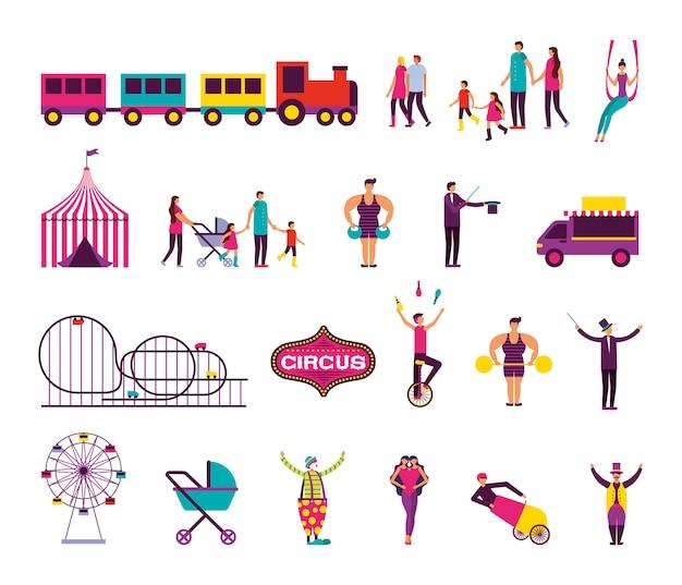 Bündel von menschen und zirkusmesse stellen icons
