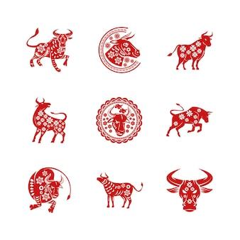 Bündel von neun chinesischen neujahrssatzikonenillustration