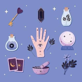 Bündel von neun esoterischen satzikonen im blauen hintergrundillustrationsdesign