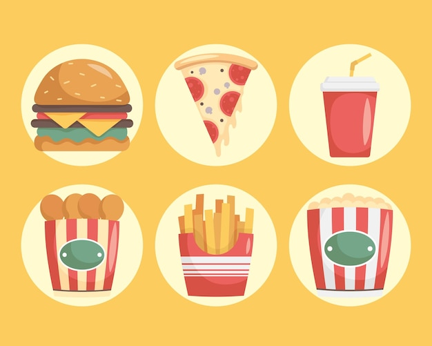 Bündel von neun fast-food-ikonen