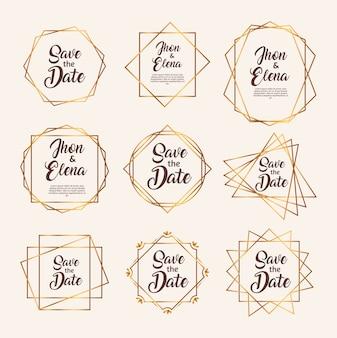 Bündel von neun goldenen rahmen der hochzeitseinladung