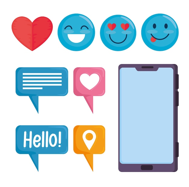 Bündel von neun social-media-set-symbolen illustration