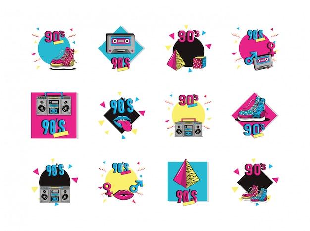 Bündel von neunziger jahren stellen icons