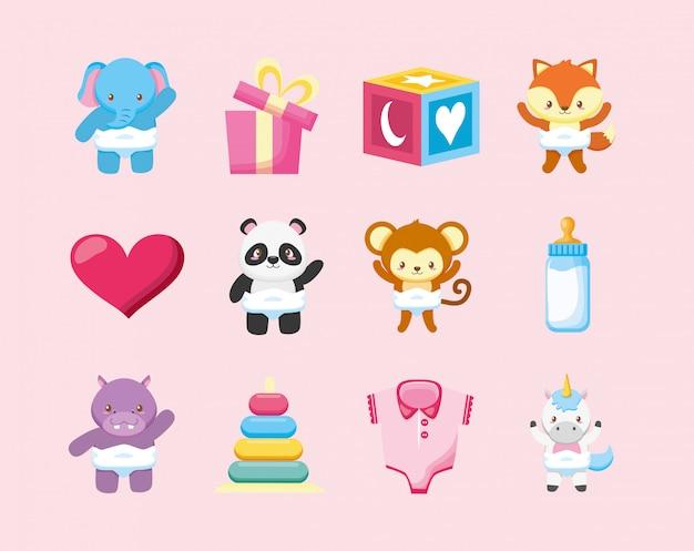 Bündel von niedlichen tieren und babyspielzeugillustrationsdesign