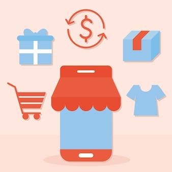 Bündel von online-einkaufssymbolen auf einer lachsfarbe