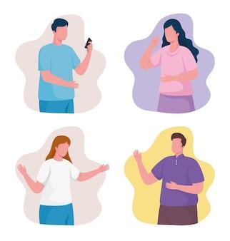 Bündel von personen, die smartphone-zeichenillustration verwenden