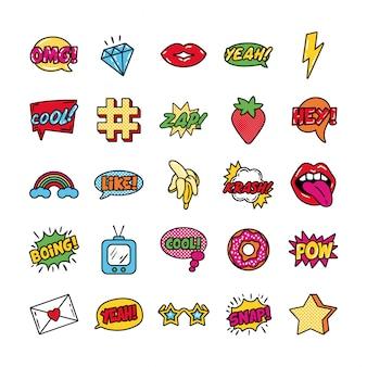 Bündel von pop-art-set-symbolen
