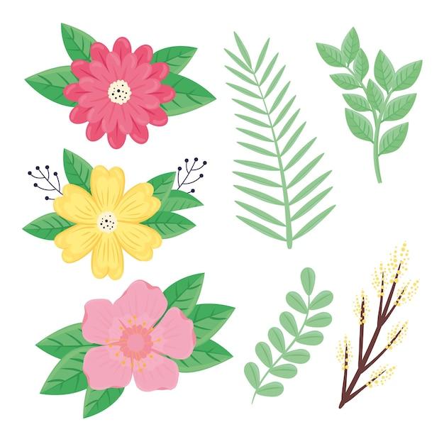 Bündel von schönheitsblumen und -blättern der frühlingssaison stellte ikonenillustration ein
