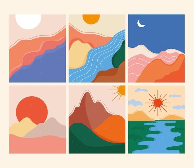 Bündel von sechs abstrakten landschaften bunte szenen