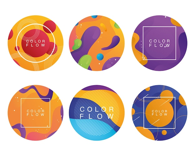 Bündel von sechs farbflusshintergründen