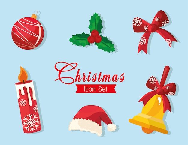 Bündel von sechs glücklichen frohen weihnachtsikonen und beschriftung