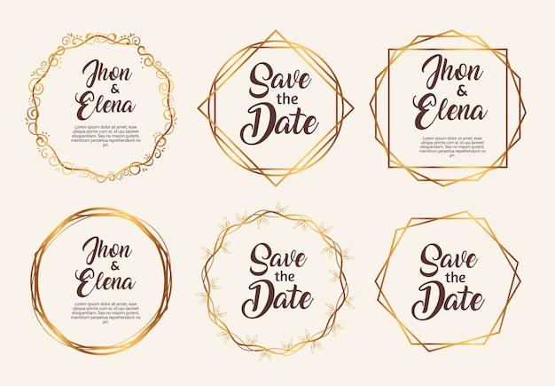 Bündel von sechs goldenen rahmen der hochzeitseinladung