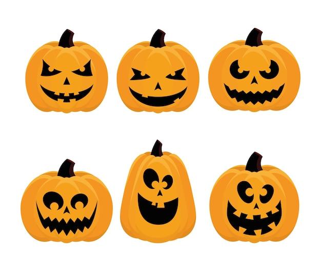 Bündel von sechs halloween-satzikonen-vektorillustrationsdesign