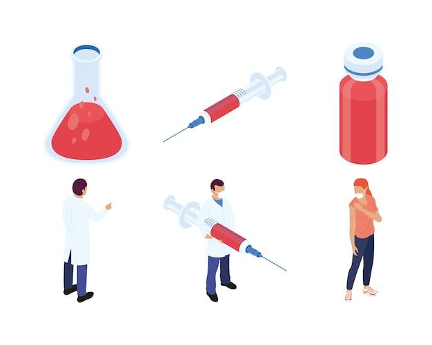 Bündel von sechs isometrischen impfstoffsatzikonen-illustrationsdesign