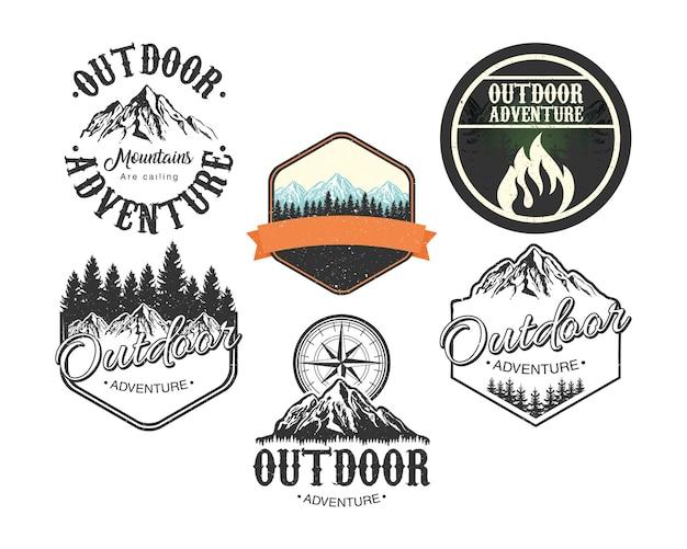 Bündel von sechs outdoor-abenteuer-schriftzug-emblemen mit fester landschaftsillustration