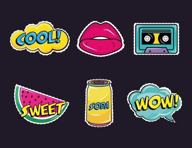 Bündel von sechs pop-art-aufklebern setzen symbole