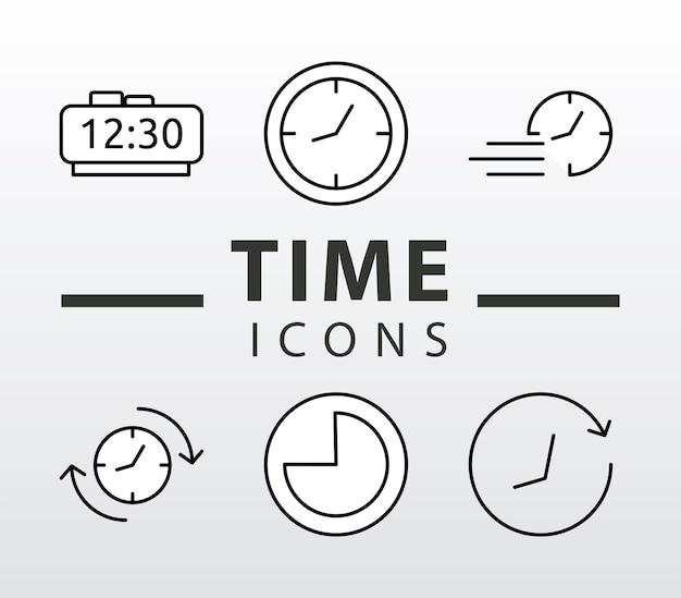 Bündel von sechs zeituhren linienstil set icons und schriftzug