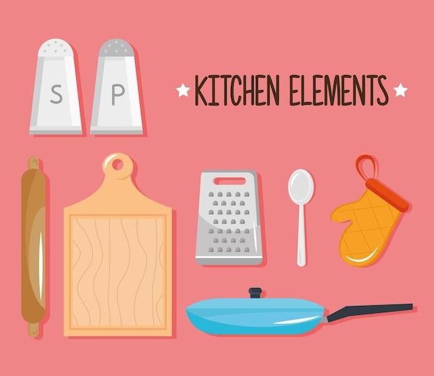 Bündel von sieben küchenutensilien setzen ikonen und beschriftungsillustrationsentwurf