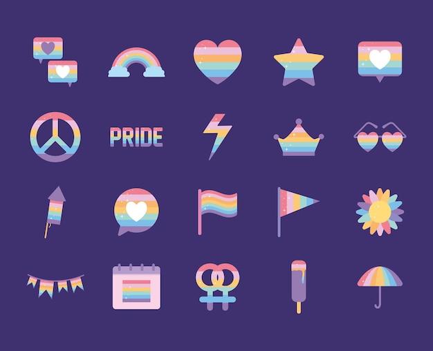 Bündel von symbolen mit lgbtq stolzfarben