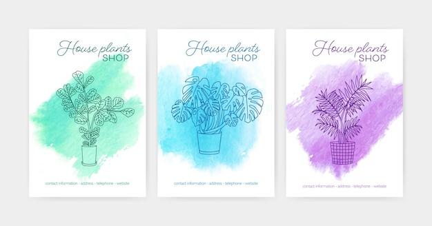Bündel von vertikalen poster- oder flyer-vorlagen mit zimmerpflanzen, die in töpfen wachsen, die mit konturlinien gegen aquarellflecken im hintergrund gezeichnet sind. vektorillustration für zimmerpflanzenladenwerbung