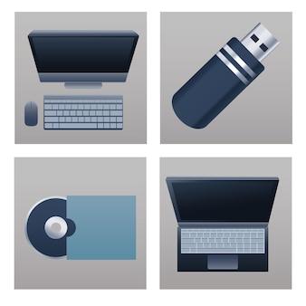 Bündel von vier büromaterialien
