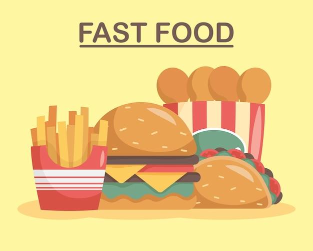 Bündel von vier fast-food-set-symbolen und schriftzügen