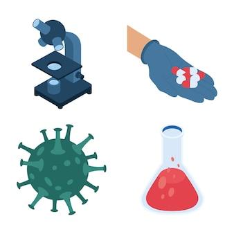 Bündel von vier isometrischen impfstoffsatzikonen-illustrationsdesign