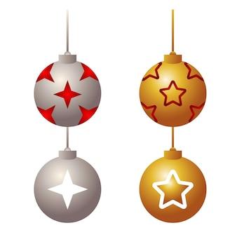 Bündel von vier kugeln glückliche frohe weihnachten stellte ikonenillustration ein Premium Vektoren