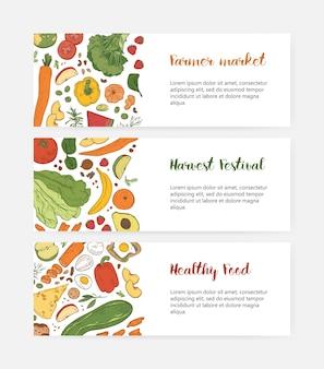 Bündel von web-banner-vorlagen mit gesundem essen, frischem obst und gemüse, köstliche diätetische ernährung auf weißem hintergrund.