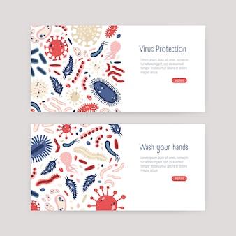 Bündel von web-banner-vorlagen mit schädlichen einzelzell-mikroorganismen auf weißem hintergrund und platz für text. bewusstsein für den schutz von bakterien und viren. illustration im flachen karikaturstil.