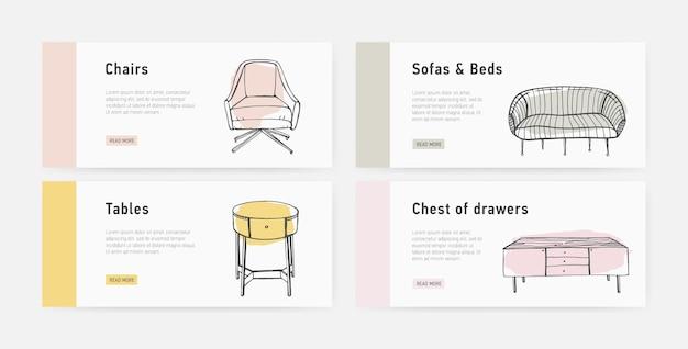 Bündel von web-banner-vorlagen mit verschiedenen arten von gemütlichen möbeln im trendigen skandischen stil