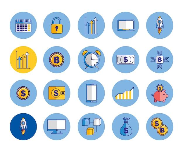 Bündel von wirtschaft und finanzen symbole