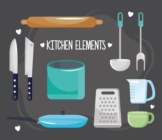 Bündel von zehn küchenutensilien setzen ikonen und beschriftungsillustrationsentwurf
