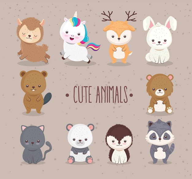 Bündel von zehn niedlichen tieren stellte ikonen und beschriftungsillustrationsentwurf ein
