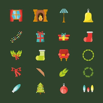 Bündel weihnachten mit den ikonen eingestellt