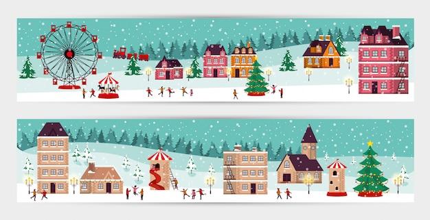 Bündel weihnachtswinterstraßenbild