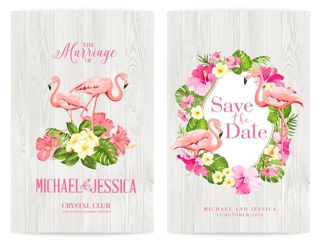 Bündeln sie einladungsdesign mit tropischen blumen und flamingos.
